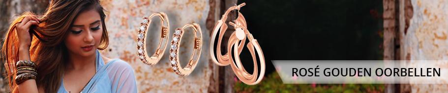 Rosé gouden oorbellen