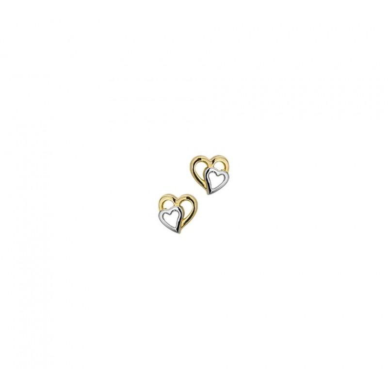 Bicolor gouden hartjes oorbellen