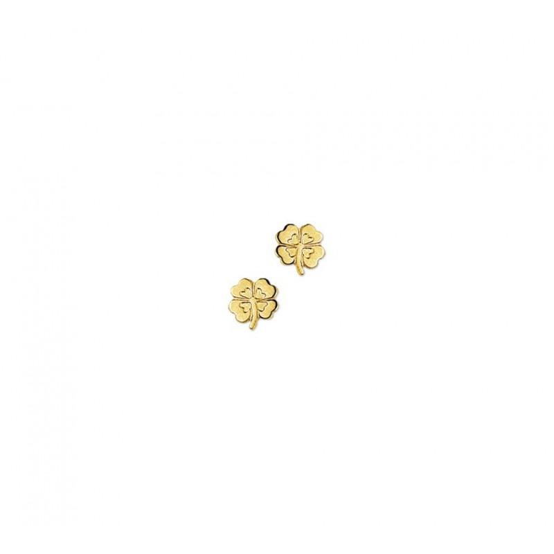 Gouden klavertje vier oorbellen