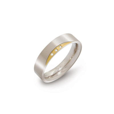 Boccia bicolor ring 0138-04 titanium verguld diamant