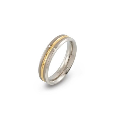 Boccia ring 0144-01 titanium diamant bicolor dames
