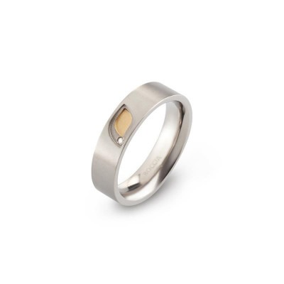 Boccia titanium ring 0146-01 verguld diamant bicolor dames