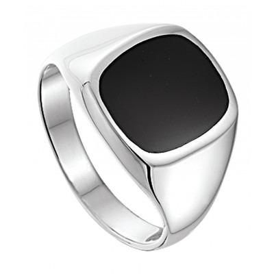 Luxe zilveren zegelring voor heren met onyx