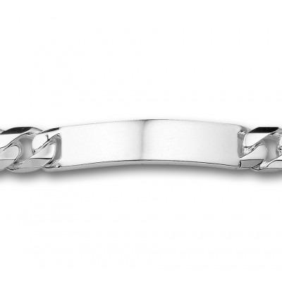 Mooie zilveren heren gourmet armband met graveerplaat
