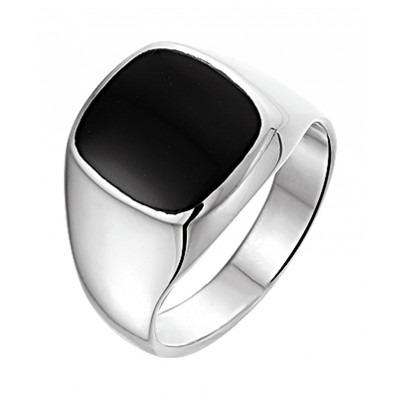 Prachtige zilveren ring voor mannen met onyxsteen