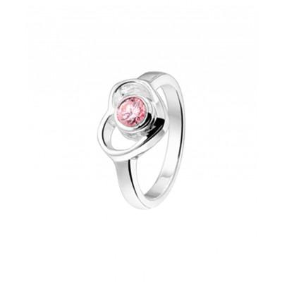 Ring van zilver en roze steen met liefdesthema