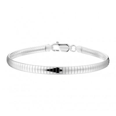 Zilveren dames omega armband van 4mm breed