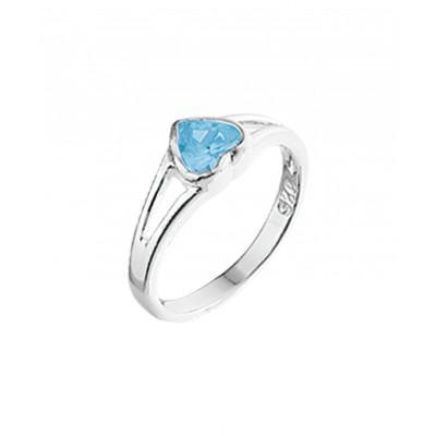 Zilveren kinderring met blauwe steentjes en liefdethema