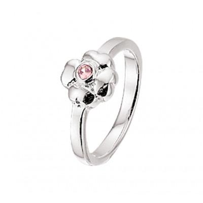 Zilveren kinderring met roze steentjes en bloementhema