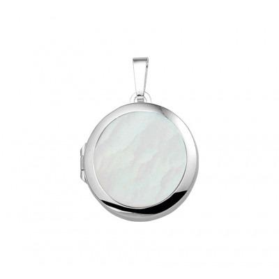 Zilveren medaillon met parelmoer rond