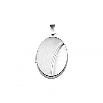 Zilveren medaillon ovaal mat en glans
