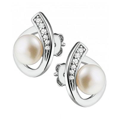 Edelsteen oorknopjes met parel in het zilver