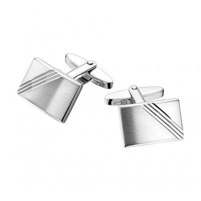 Gediamanteerde manchetknopen van zilver met mat en glans 18,5 x 12,5 mm