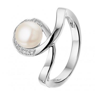 Gedraaide zilveren ring met parel