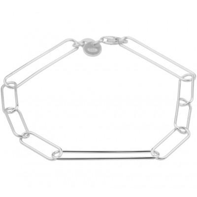 Gerhodineerd zilveren armband met ankerschakel 19 cm