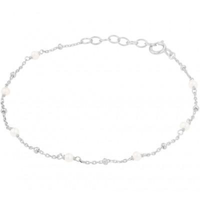 Gerhodineerd zilveren armband met witte parels