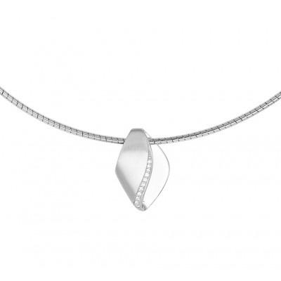 Gerhodineerde zilveren collier met poli/matte afwerking en hanger