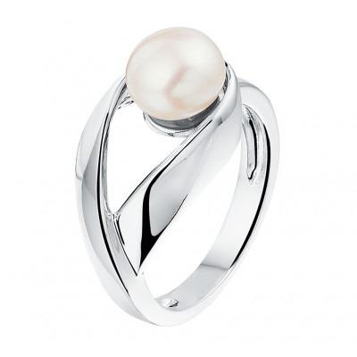 Klassieke zilveren ring met parel