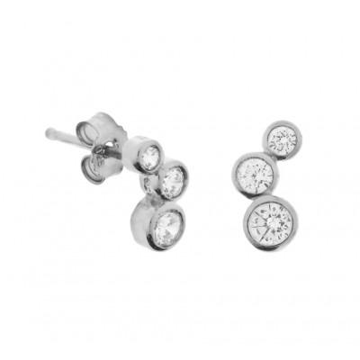 Luxe oorknoppen van zilver met zirkonia 9 mm hoog