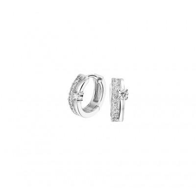 Luxe paar klapcreolen van zilver met echte zirkonia