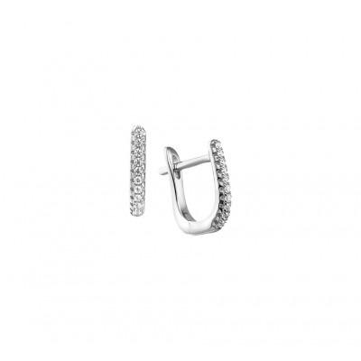 Luxe zilveren klapcreolen met zirkonia van 15 mm hoog