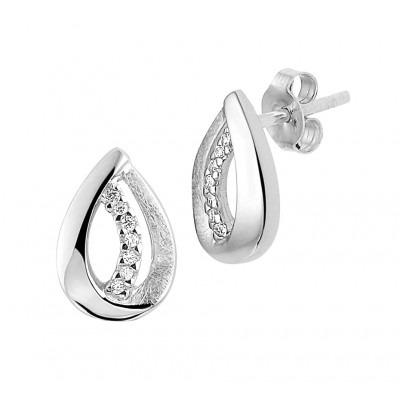 Luxe zilveren oorknoppen met zirkonia 12 mm hoog