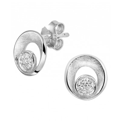 Luxe zirkonia zilverkleurige oorknoppen 10 mm breed