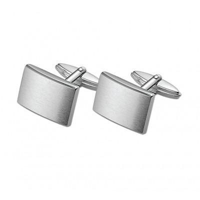 Matte rechthoekige manchetknopen van zilver 18,5 x 12,5 mm