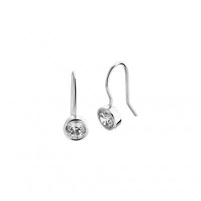 Mooie oorhangers met zirkonia van zilver 16 mm hoog