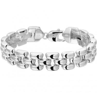Mooie zilveren dames schakel armband van 19 centimeter