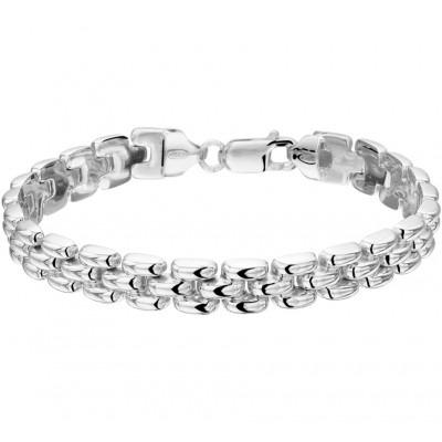 Mooie zilveren schakel armband met karabijn sluiting