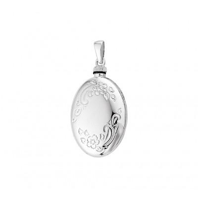 Ovalen zilveren ashanger met gravure