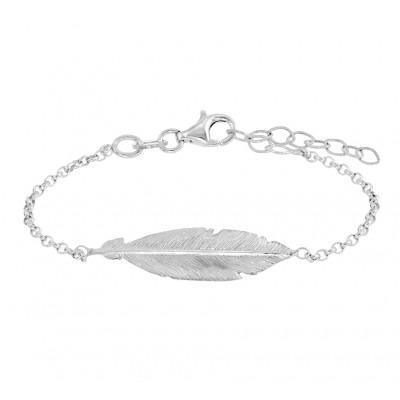 Prachtige zilveren armband met veer in het midden