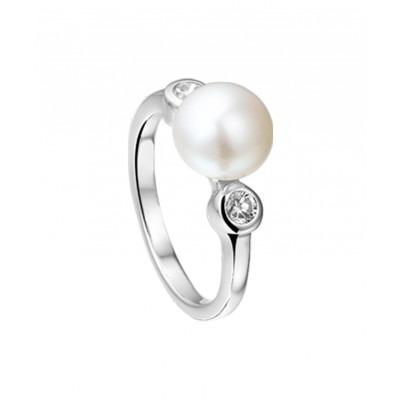 Ring met parel met zirkonias van zilver