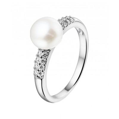 Ring met parel met zirkonia van zilver