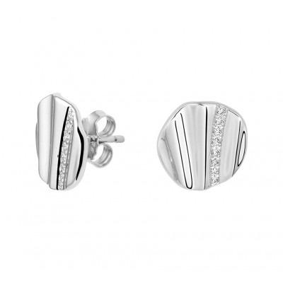 Ronde zilveren oorknoppen met zirkonia