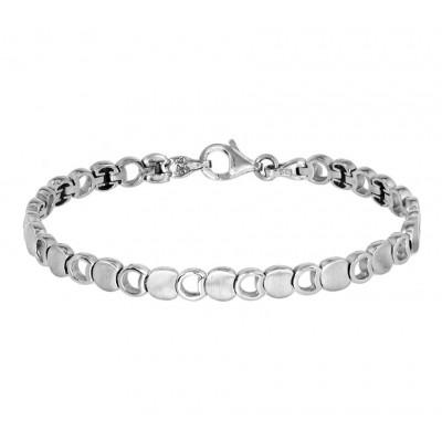 Speelse zilveren armband met opengewerkte schakels