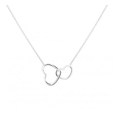 Zilver collier met twee verbonden harten