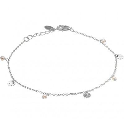 Zilveren armband met parels en rondjes