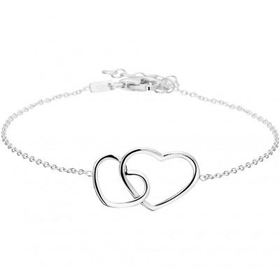 Zilveren armband met twee verbonden harten