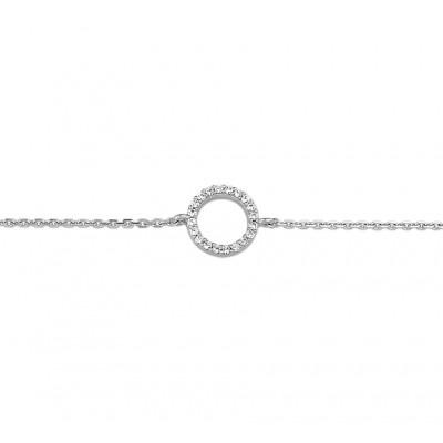 Zilveren armband zirkonia rondje