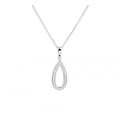 Zilveren collier met druppelvormige hanger