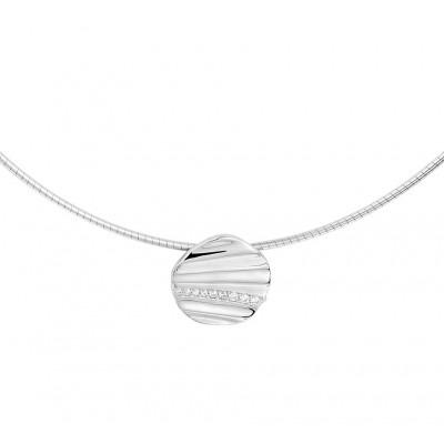 Zilveren collier met ronde hanger met zirkonias