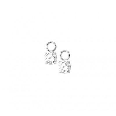 Zilveren creolen hangers met zirkonia