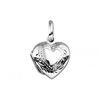 Zilveren hart medaillon bewerkt