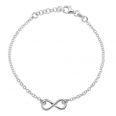 Zilveren infinity armband met een lengte van 16,5 cm