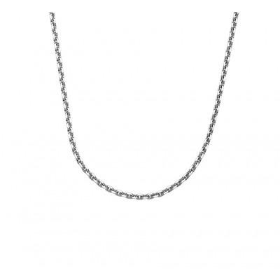 Zilveren ketting met ankerschakel gediamanteerd