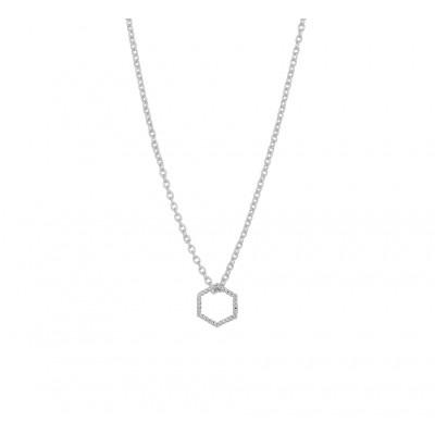 Zilveren ketting met hanger zeshoek