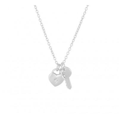 Zilveren ketting met hart en sleutel