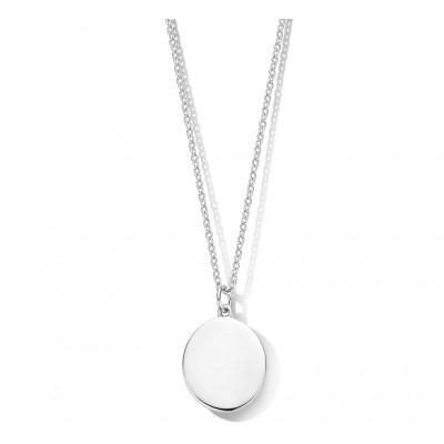 Zilveren ketting met ovalen hanger
